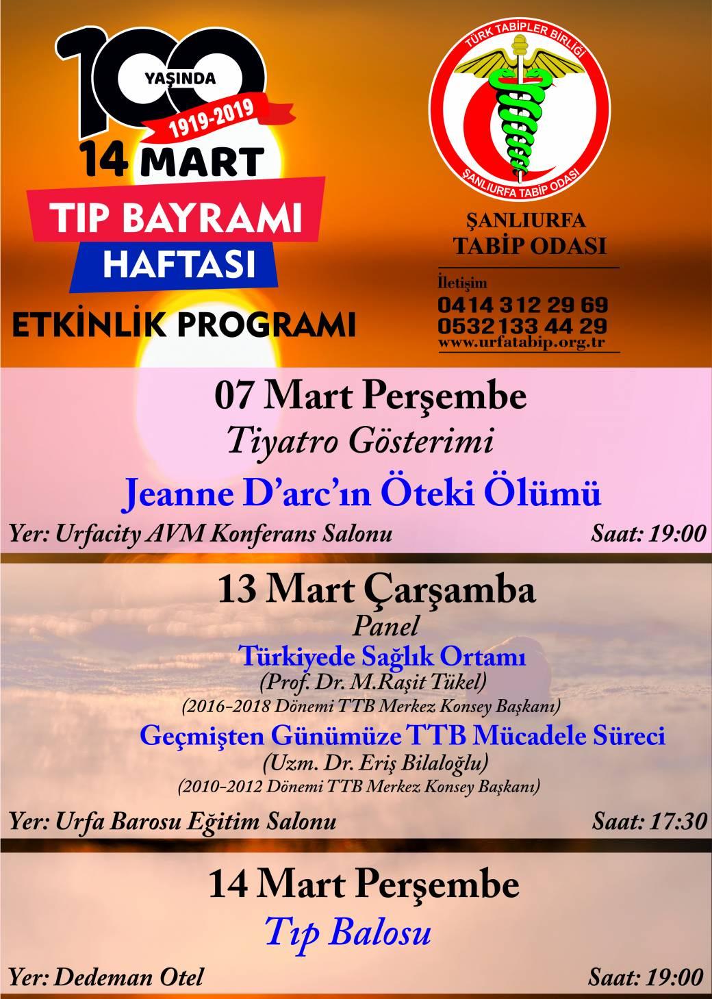 Şanlurfa Tabip Odası 14 Mart Haftası Etkinlikleri