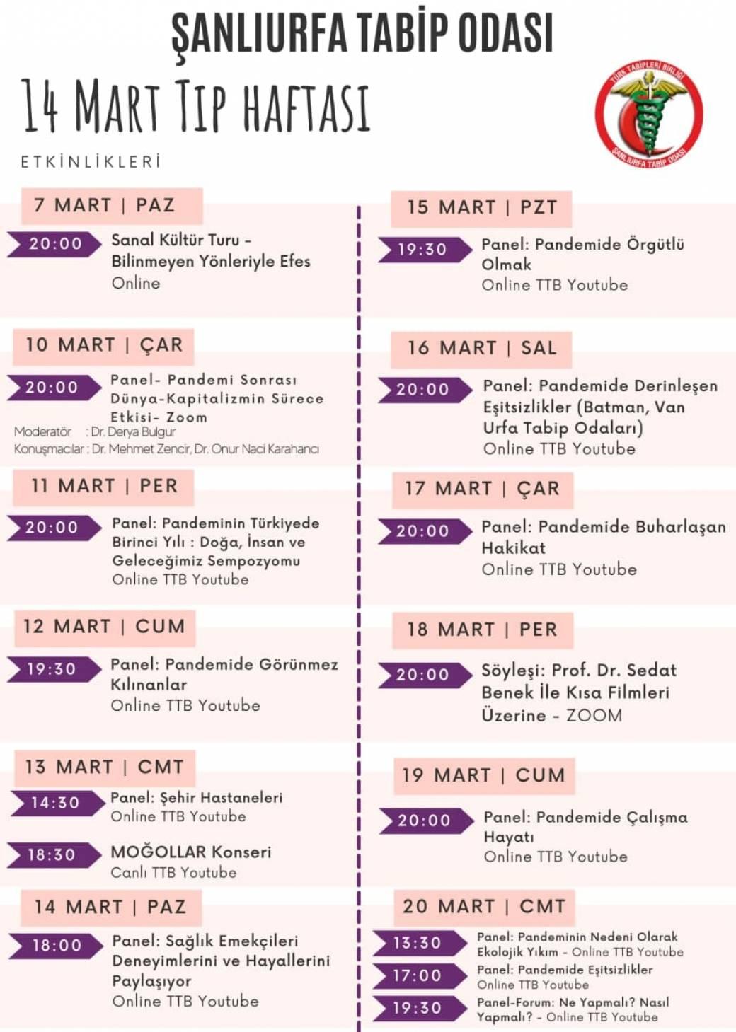 Şanlıurfa Tabip Odası Ve Türk Tabipleri Birliği Merkezi'nin 14 Mart Etkinlikler Programı;