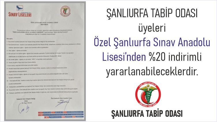 ŞANLIURFA TABİP ODASI üyeleri Özel Şanlıurfa Sınav Anadolu Lisesi'nden %20 indirimli yararlanabileceklerdir.